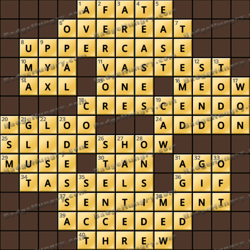 Crossword Cove HD Solution: October 10, 2019
