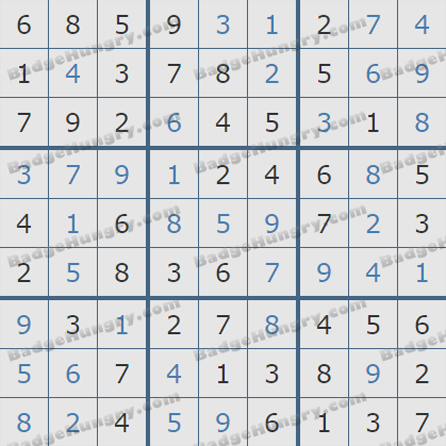 Pogo Daily Sudoku Solutions: October 27, 2019