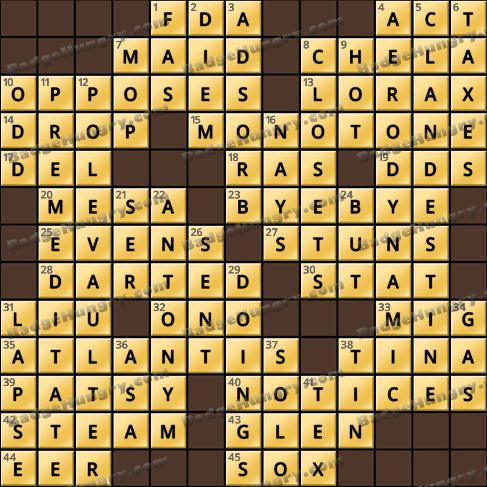 Crossword Cove HD Solution: December 7, 2019