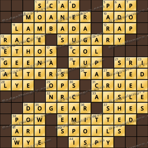 Crossword Cove HD Solution: January 12, 2020