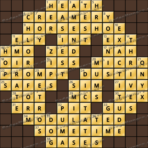 Crossword Cove HD Solution: January 14, 2020