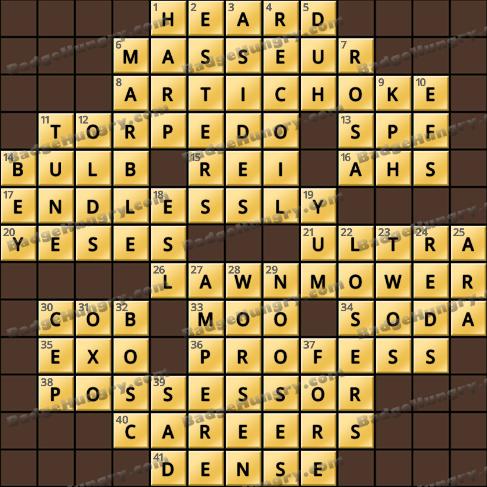 Crossword Cove HD Solution: January 15, 2020