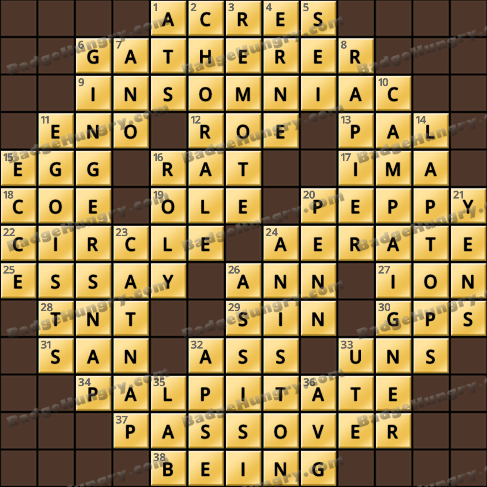 Crossword Cove HD Solution: January 17, 2020