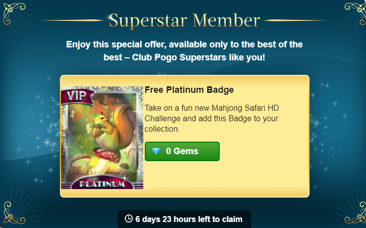 Superstar Mahjong Safari HD Platinum Badge