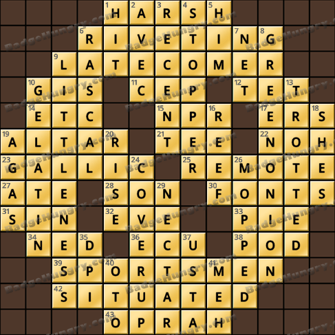Crossword Cove HD Solution: March 2, 2020