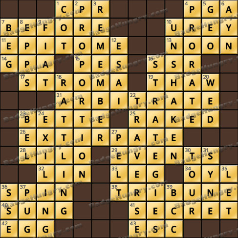 Crossword Cove HD Solution: March 11, 2020