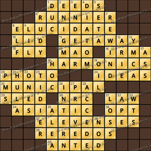 Crossword Cove HD Solution: March 26, 2020