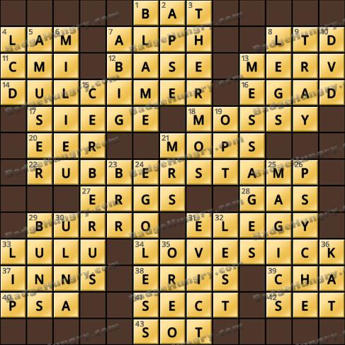 Crossword Cove HD Solution: April 25, 2020