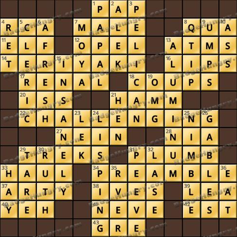 Crossword Cove HD Solution: September 6, 2020