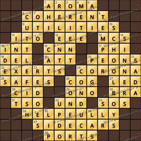 Crossword Cove HD Solution: December 24, 2020