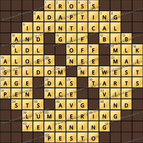 Crossword Cove HD Solution: January 8, 2021