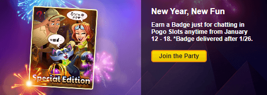 Earn a New Badge for chatting in Pogo Slots