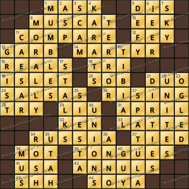 Crossword Cove HD Solution: July 14, 2021